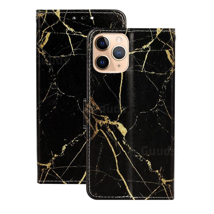 Black Gold Marble PU Leather Wallet Case for iPhone 12 (5.4 inch)