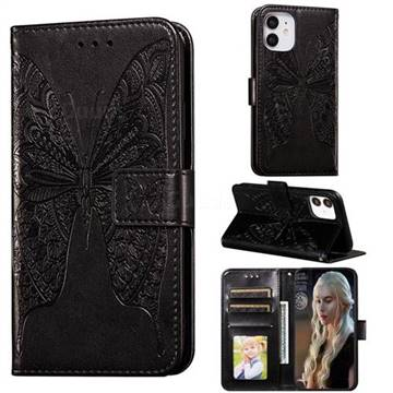 Intricate Embossing Vivid Butterfly Leather Wallet Case for iPhone 12 mini (5.4 inch) - Black