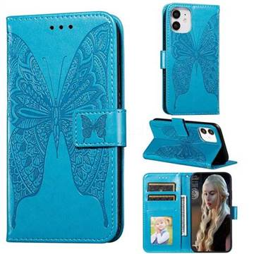 Intricate Embossing Vivid Butterfly Leather Wallet Case for iPhone 12 (5.4 inch) - Blue