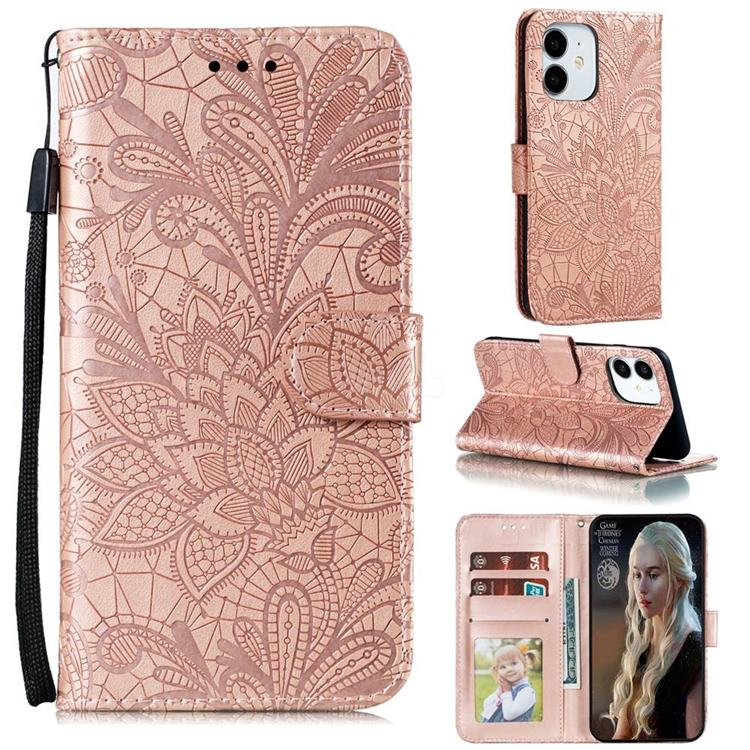 Intricate Embossing Lace Jasmine Flower Leather Wallet Case for iPhone 12 (5.4 inch) - Rose Gold