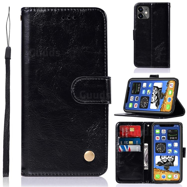 Luxury Retro Leather Wallet Case for iPhone 12 mini (5.4 inch) - Black