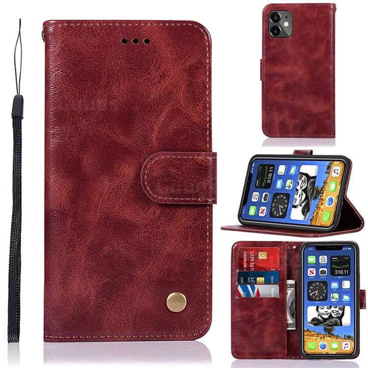 Luxury Retro Leather Wallet Case for iPhone 12 mini (5.4 inch) - Wine Red