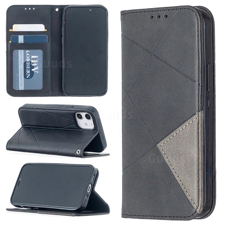 Prismatic Slim Magnetic Sucking Stitching Wallet Flip Cover for iPhone 12 mini (5.4 inch) - Black