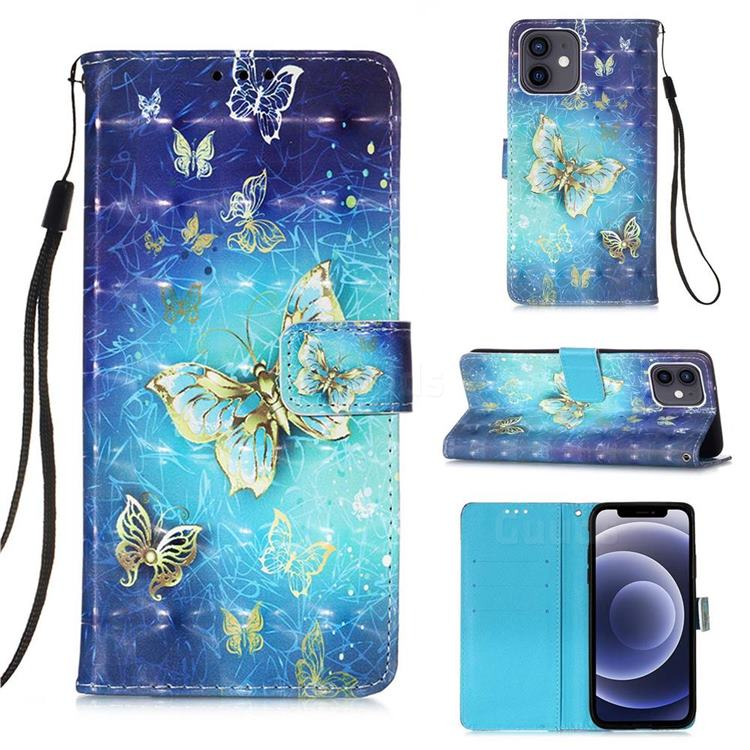 Gold Butterfly 3D Painted Leather Wallet Case for iPhone 12 mini (5.4 inch)