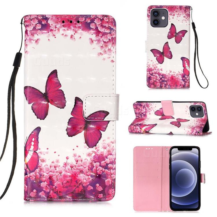 Rose Butterfly 3D Painted Leather Wallet Case for iPhone 12 mini (5.4 inch)