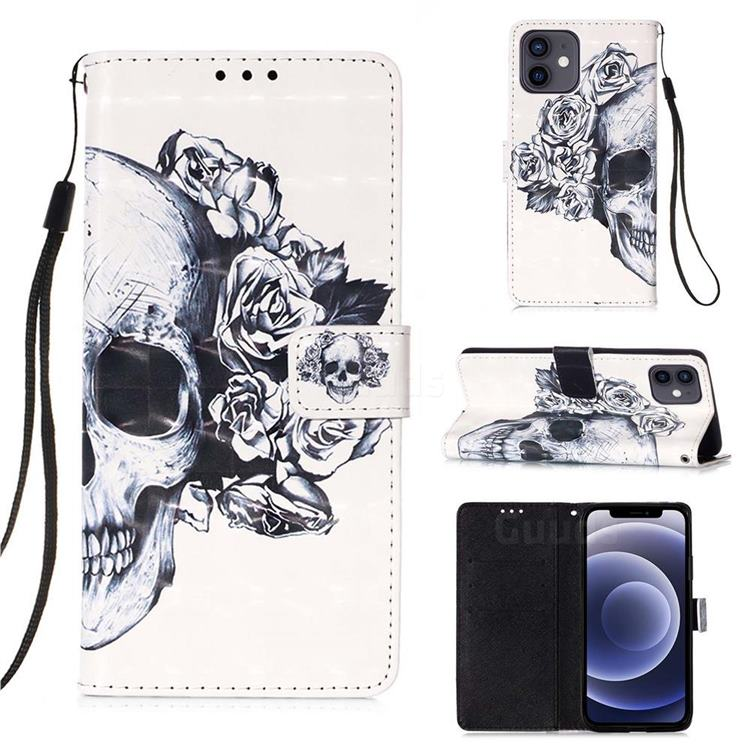 Skull Flower 3D Painted Leather Wallet Case for iPhone 12 mini (5.4 inch)
