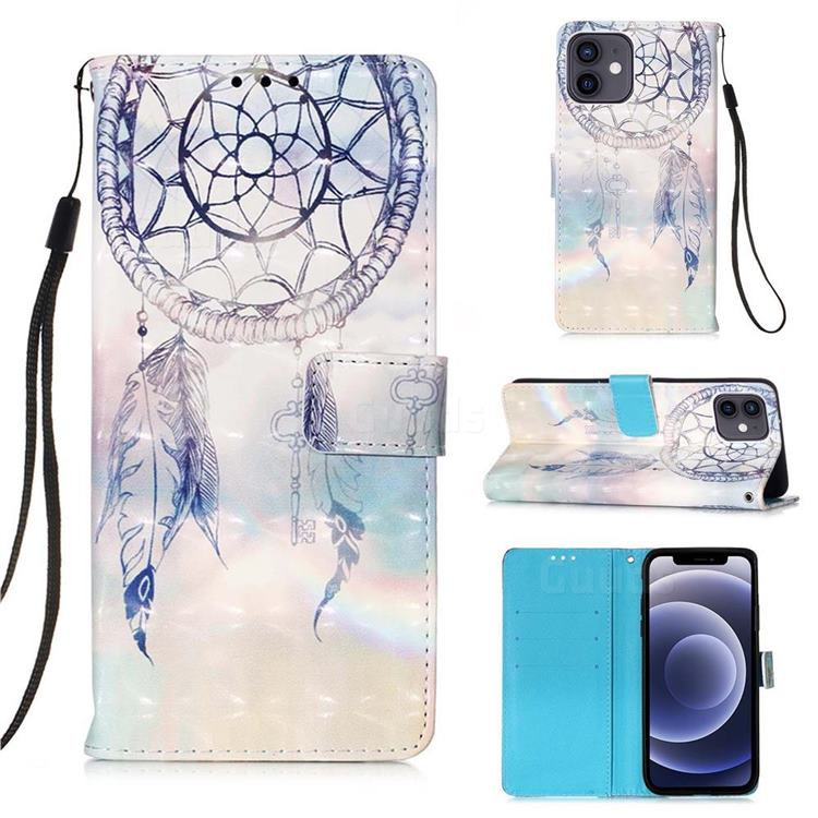 Fantasy Campanula 3D Painted Leather Wallet Case for iPhone 12 mini (5.4 inch)