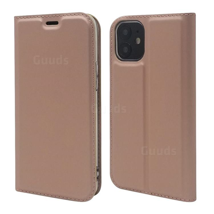 Ultra Slim Card Magnetic Automatic Suction Leather Wallet Case for iPhone 12 mini (5.4 inch) - Rose Gold