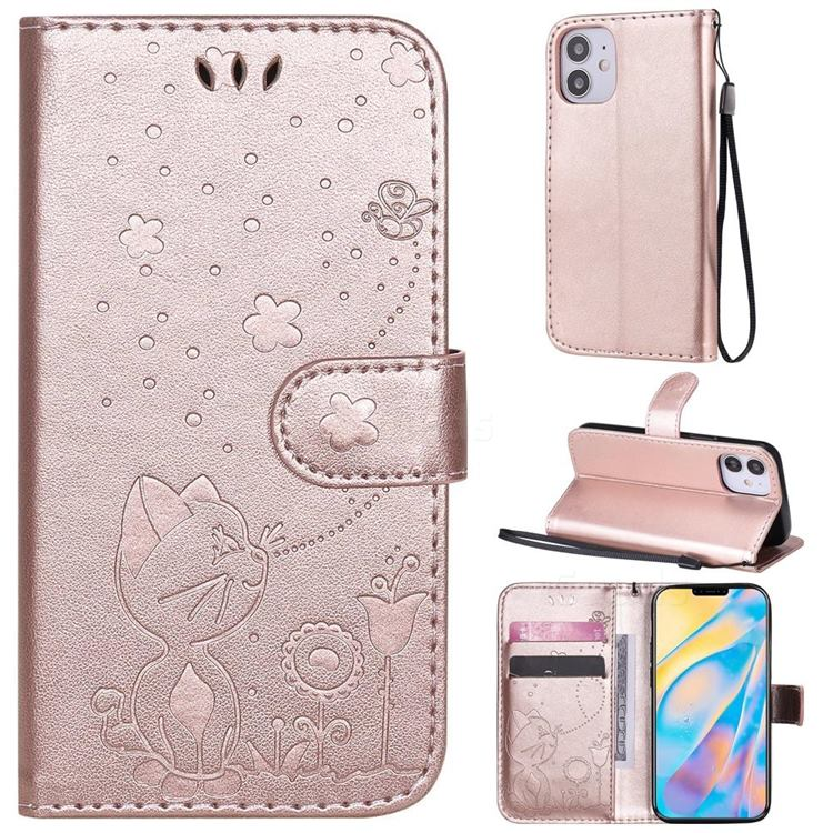 Embossing Bee and Cat Leather Wallet Case for iPhone 12 mini (5.4 inch) - Rose Gold