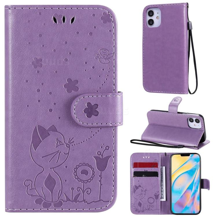 Embossing Bee and Cat Leather Wallet Case for iPhone 12 mini (5.4 inch) - Purple