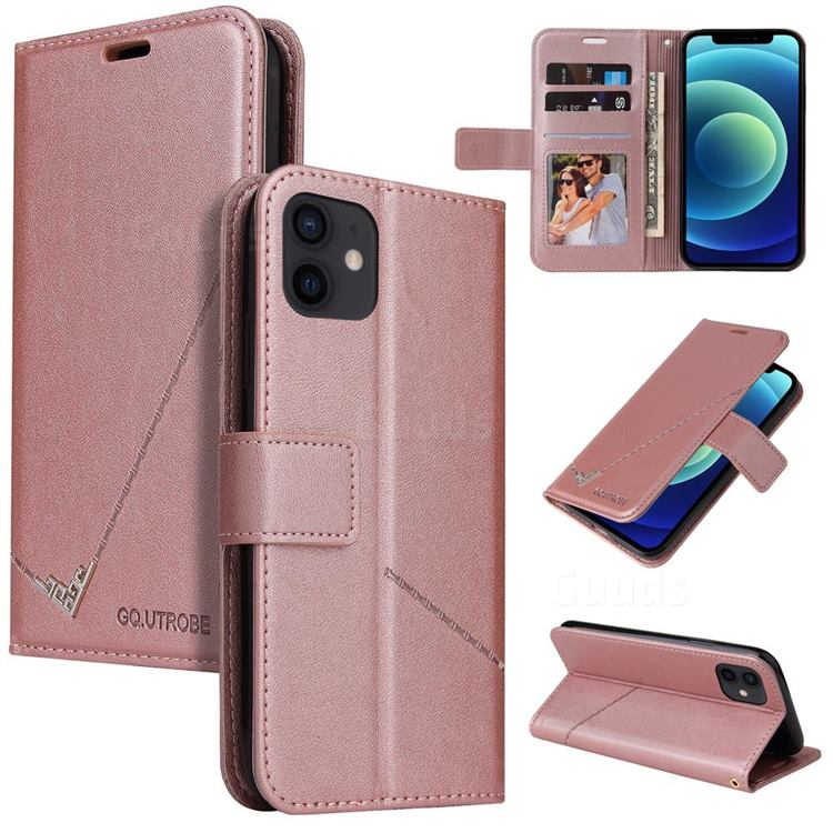 GQ.UTROBE Right Angle Silver Pendant Leather Wallet Phone Case for iPhone 12 mini (5.4 inch) - Rose Gold