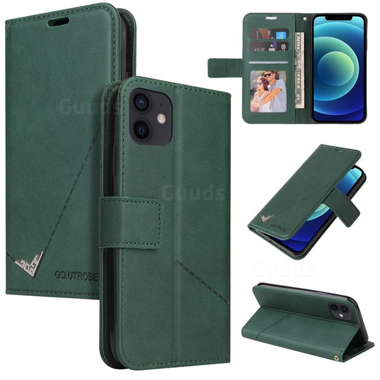 GQ.UTROBE Right Angle Silver Pendant Leather Wallet Phone Case for iPhone 12 mini (5.4 inch) - Green