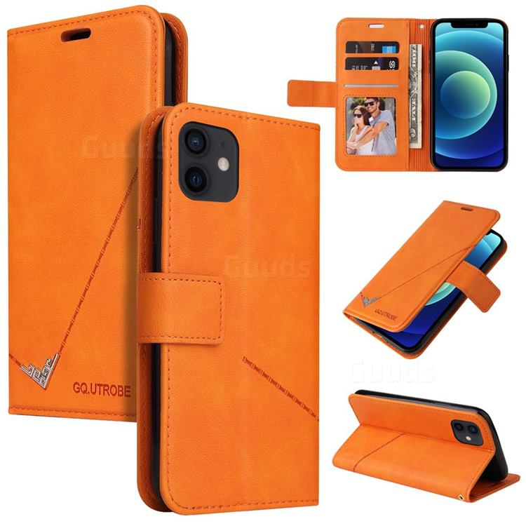 GQ.UTROBE Right Angle Silver Pendant Leather Wallet Phone Case for iPhone 12 mini (5.4 inch) - Orange