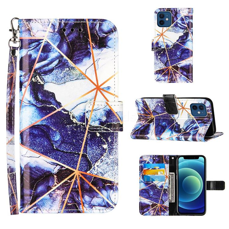 Starry Blue Stitching Color Marble Leather Wallet Case for iPhone 12 mini (5.4 inch)