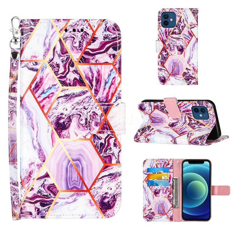 Dream Purple Stitching Color Marble Leather Wallet Case for iPhone 12 mini (5.4 inch)