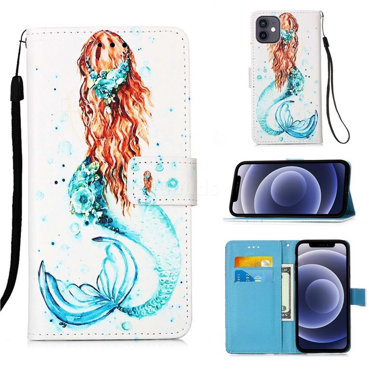 Mermaid Matte Leather Wallet Phone Case for iPhone 12 mini (5.4 inch)