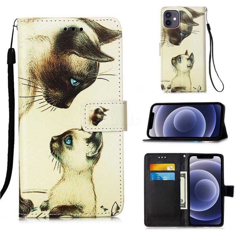 Cat Confrontation Matte Leather Wallet Phone Case for iPhone 12 mini (5.4 inch)