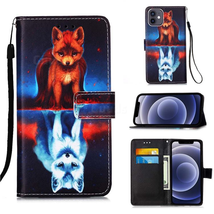Water Fox Matte Leather Wallet Phone Case for iPhone 12 mini (5.4 inch)