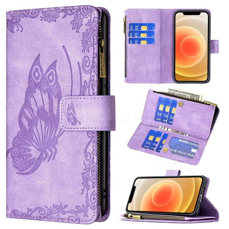 Binfen Color Imprint Vivid Butterfly Buckle Zipper Multi-function Leather Phone Wallet for iPhone 12 mini (5.4 inch) - Purple