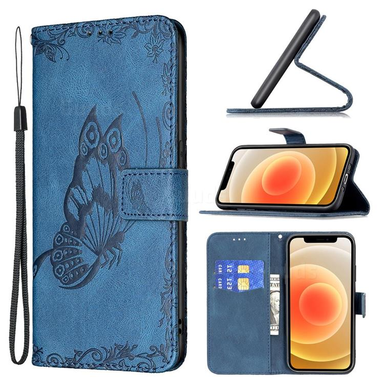 Binfen Color Imprint Vivid Butterfly Leather Wallet Case for iPhone 12 mini (5.4 inch) - Blue