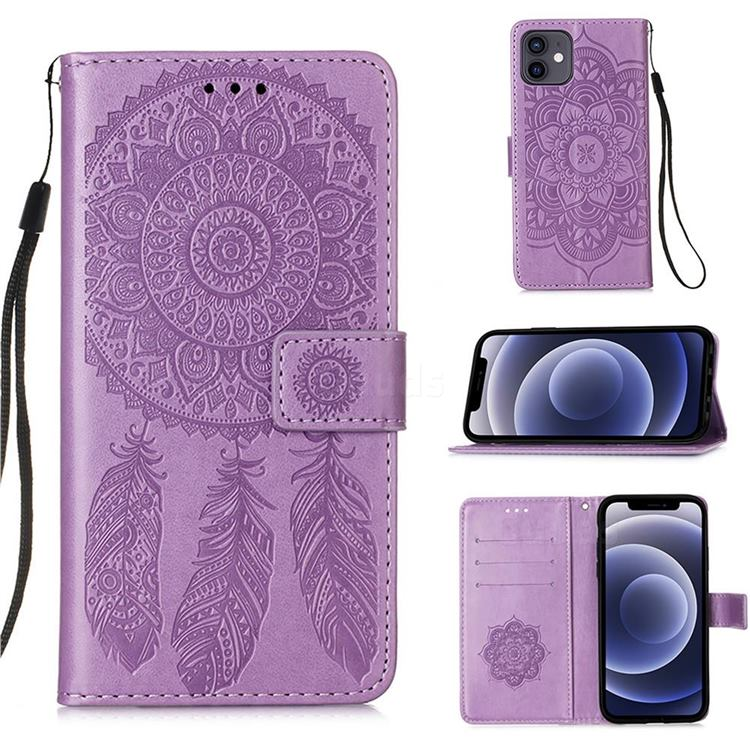 Embossing Dream Catcher Mandala Flower Leather Wallet Case for iPhone 12 mini (5.4 inch) - Purple