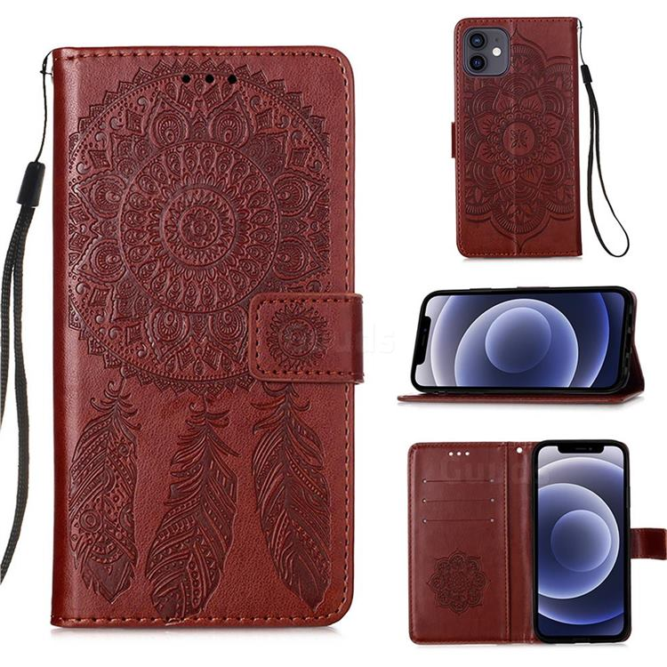 Embossing Dream Catcher Mandala Flower Leather Wallet Case for iPhone 12 mini (5.4 inch) - Brown