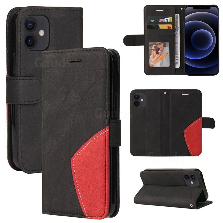 Luxury Two-color Stitching Leather Wallet Case Cover for iPhone 12 mini (5.4 inch) - Black