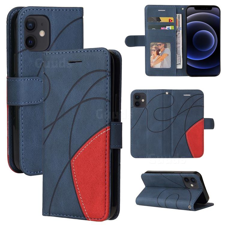 Luxury Two-color Stitching Leather Wallet Case Cover for iPhone 12 mini (5.4 inch) - Blue