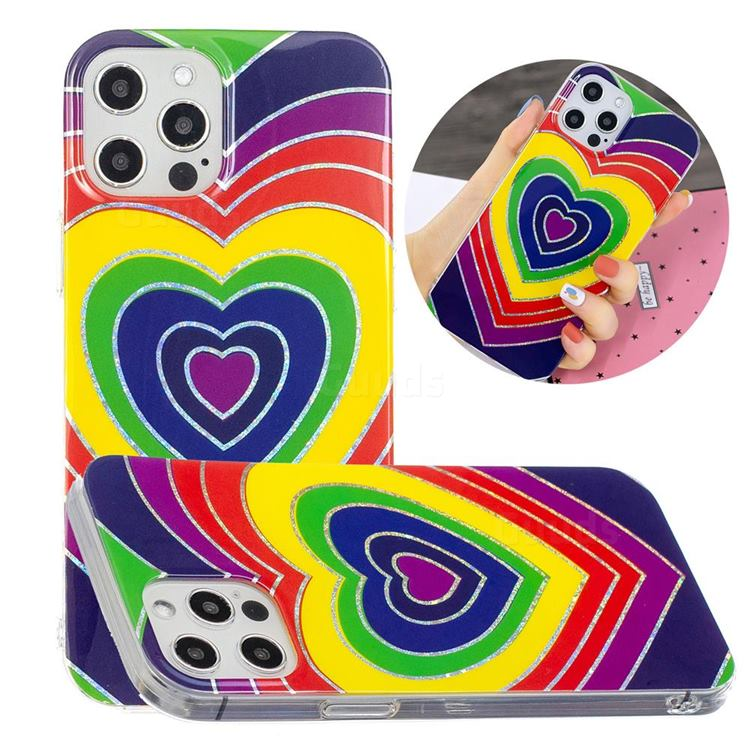 Rainbow Heart Painted Galvanized Electroplating Soft Phone Case Cover for iPhone 12 / 12 Pro (6.1 inch)