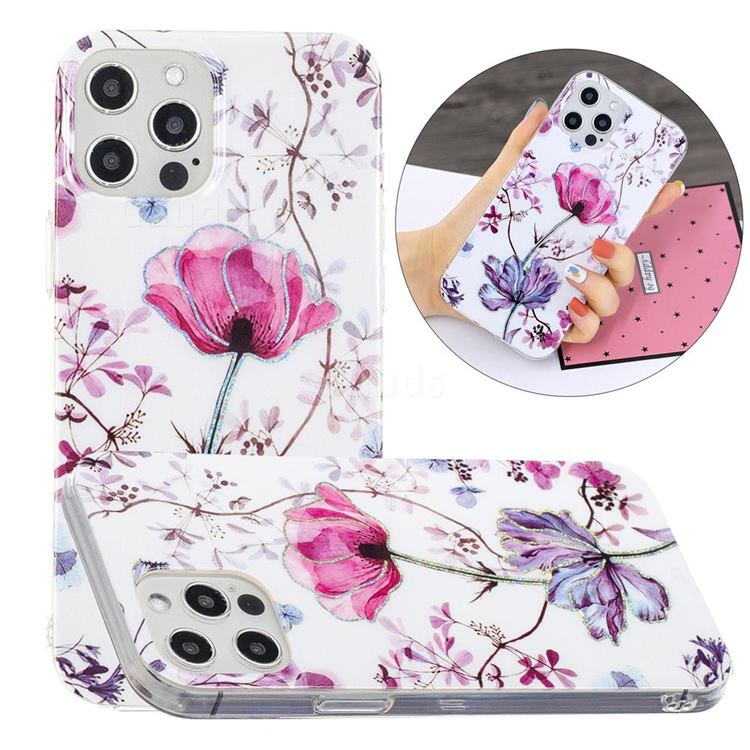 Magnolia Painted Galvanized Electroplating Soft Phone Case Cover for iPhone 12 / 12 Pro (6.1 inch)