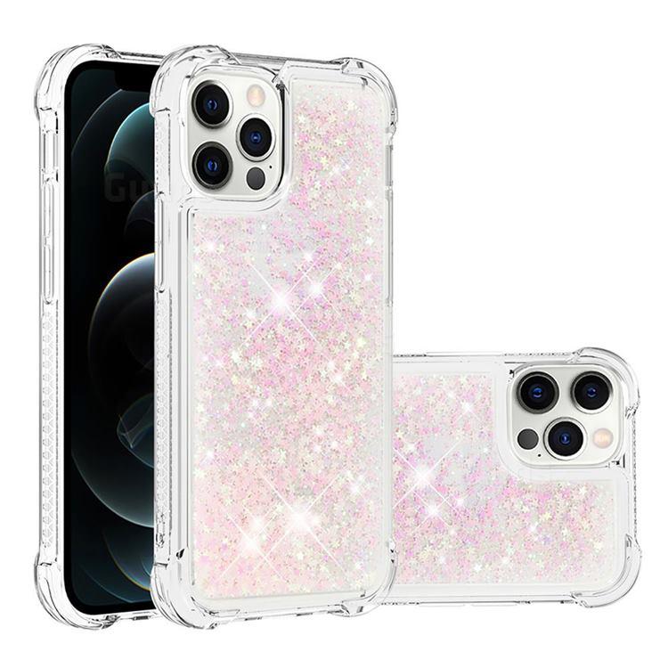 Dynamic Liquid Glitter Sand Quicksand TPU Case for iPhone 12 / 12 Pro (6.1 inch) - Silver Powder Star
