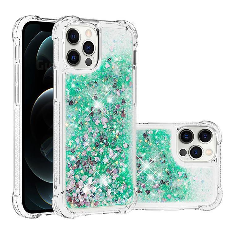 Dynamic Liquid Glitter Sand Quicksand TPU Case for iPhone 12 / 12 Pro (6.1 inch) - Green Love Heart