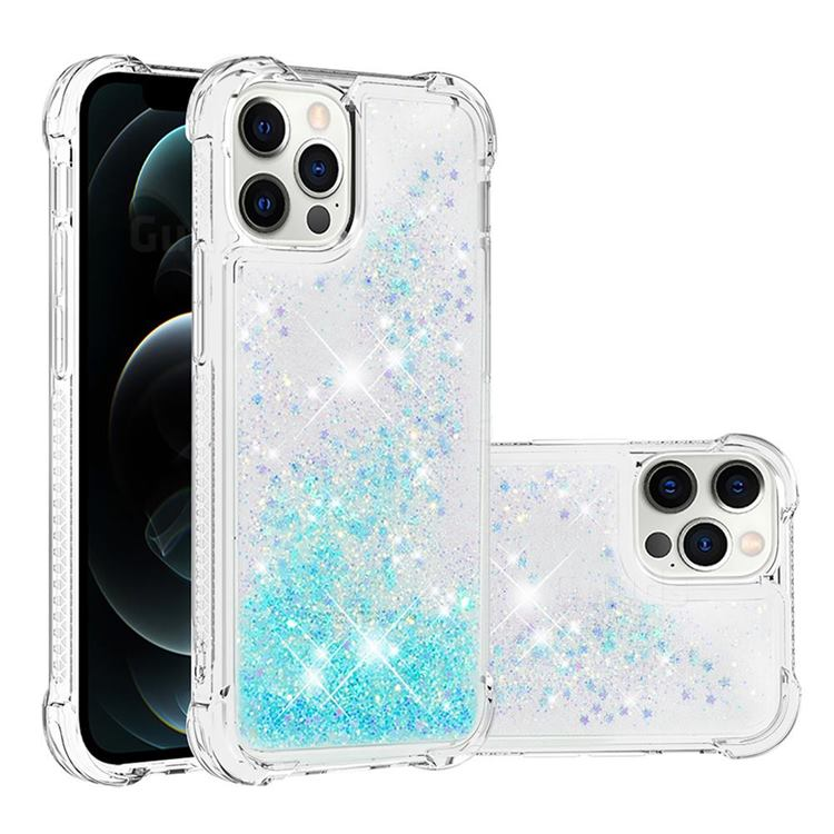 Dynamic Liquid Glitter Sand Quicksand TPU Case for iPhone 12 / 12 Pro (6.1 inch) - Silver Blue Star