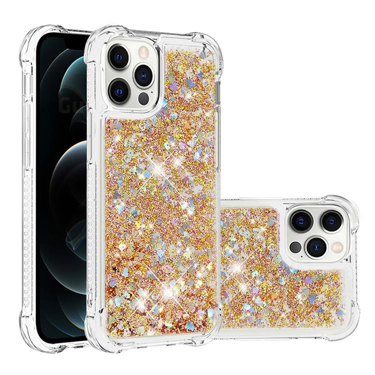 Dynamic Liquid Glitter Sand Quicksand TPU Case for iPhone 12 / 12 Pro (6.1 inch) - Rose Gold Love Heart