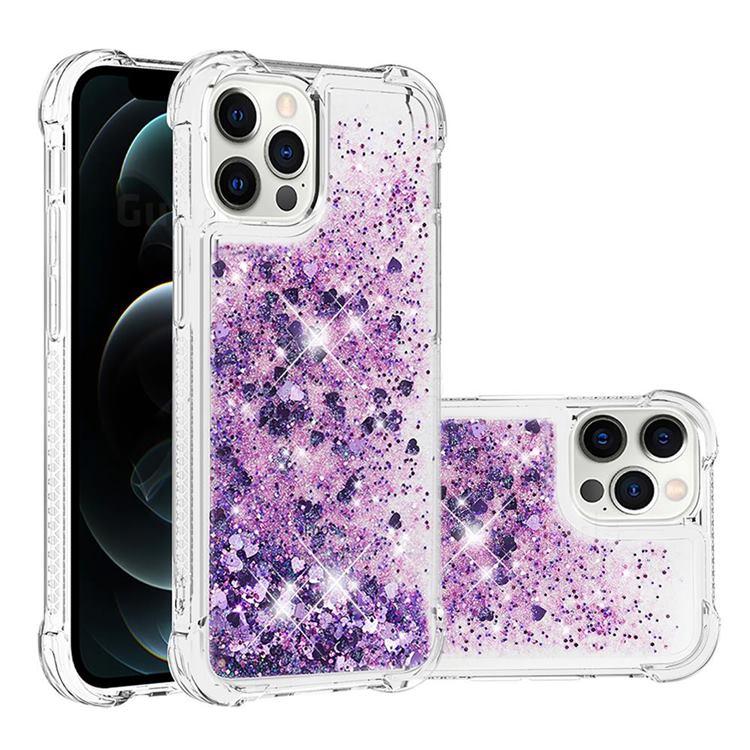 Dynamic Liquid Glitter Sand Quicksand Star TPU Case for iPhone 12 / 12 Pro (6.1 inch) - Purple