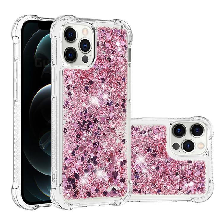 Dynamic Liquid Glitter Sand Quicksand Star TPU Case for iPhone 12 / 12 Pro (6.1 inch) - Diamond Rose