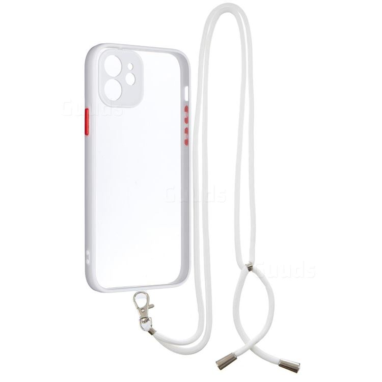 Necklace Cross-body Lanyard Strap Cord Phone Case Cover for iPhone 12 / 12 Pro (6.1 inch) - White