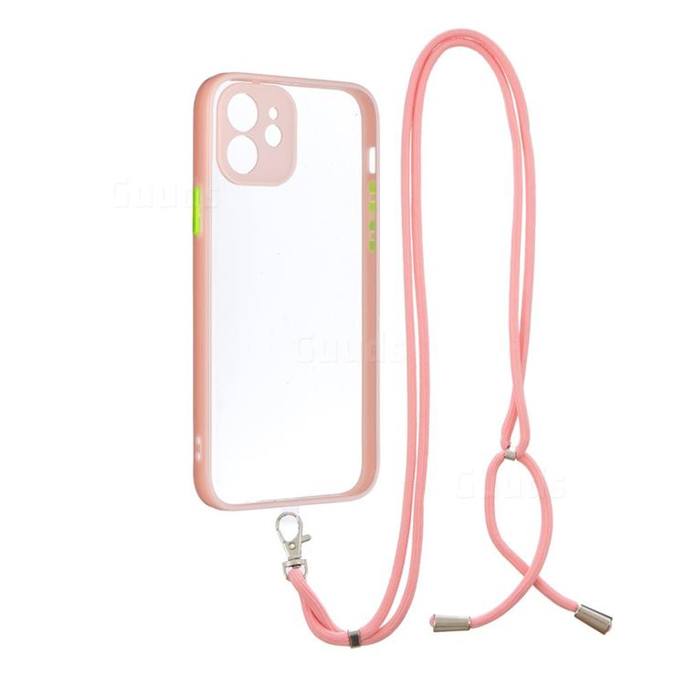 Necklace Cross-body Lanyard Strap Cord Phone Case Cover for iPhone 12 / 12 Pro (6.1 inch) - Pink