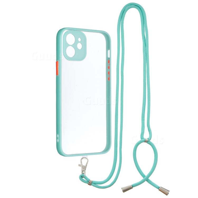 Necklace Cross-body Lanyard Strap Cord Phone Case Cover for iPhone 12 / 12 Pro (6.1 inch) - Blue