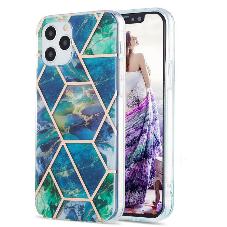 Blue Green Marble Pattern Galvanized Electroplating Protective Case Cover for iPhone 12 / 12 Pro (6.1 inch)
