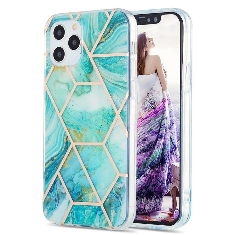 Blue Sea Marble Pattern Galvanized Electroplating Protective Case Cover for iPhone 12 / 12 Pro (6.1 inch)