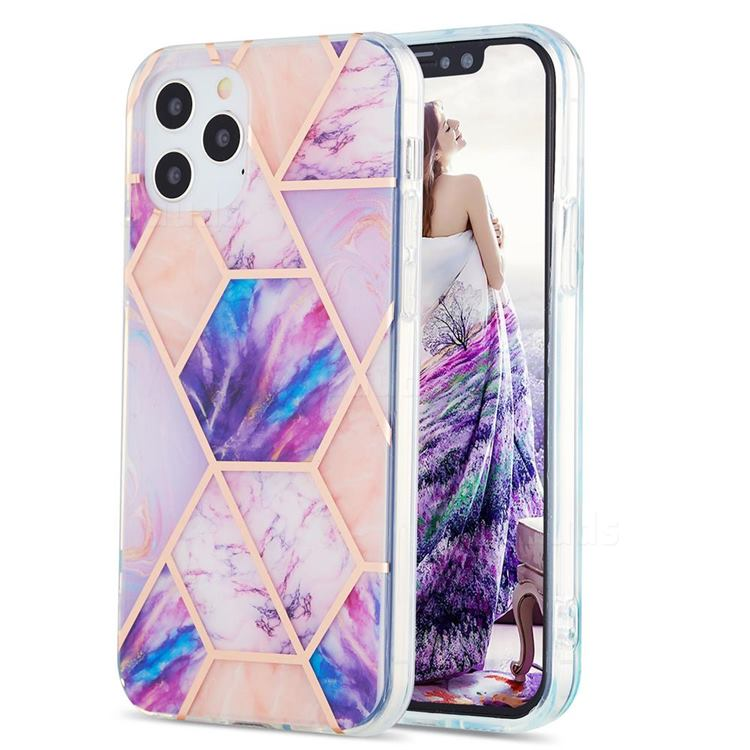 Purple Dream Marble Pattern Galvanized Electroplating Protective Case Cover for iPhone 12 / 12 Pro (6.1 inch)