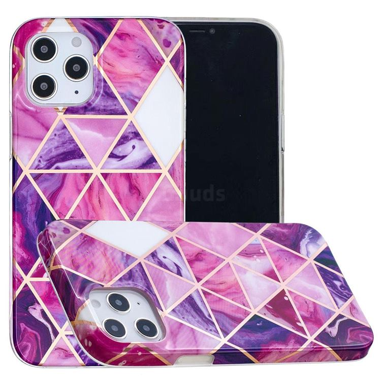 Purple Dream Triangle Painted Marble Electroplating Protective Case for iPhone 12 / 12 Pro (6.1 inch)