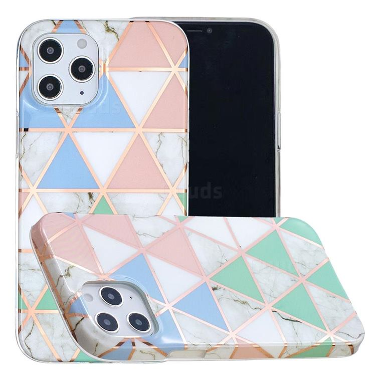 Fresh Triangle Painted Marble Electroplating Protective Case for iPhone 12 / 12 Pro (6.1 inch)