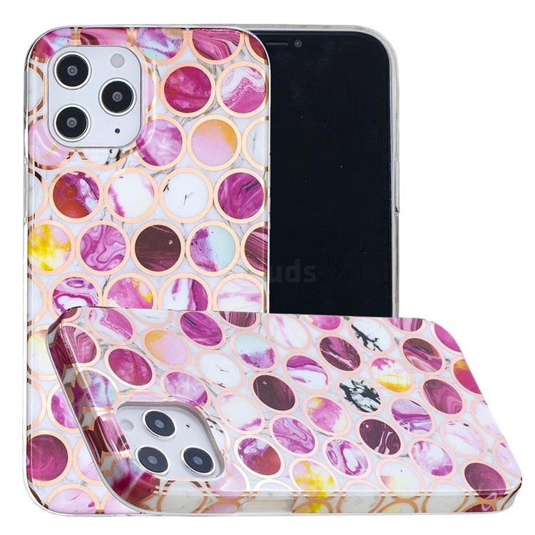 Round Puzzle Painted Marble Electroplating Protective Case for iPhone 12 / 12 Pro (6.1 inch)
