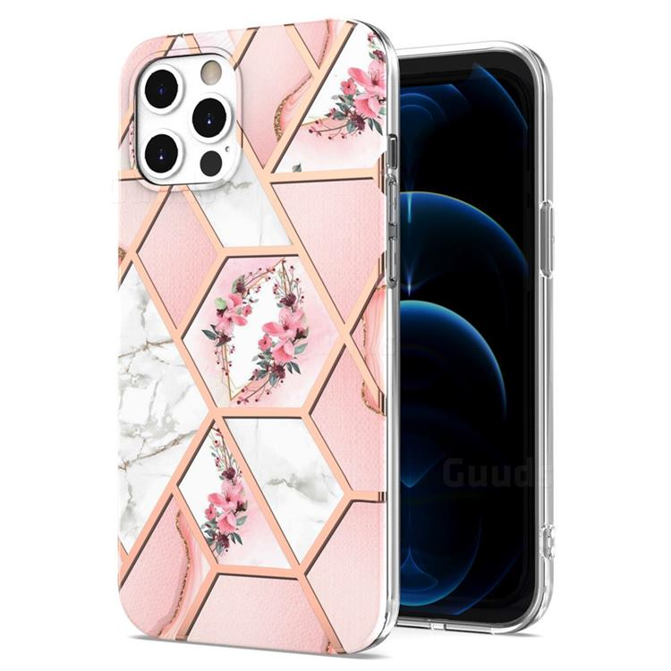 Pink Flower Marble Electroplating Protective Case Cover for iPhone 12 / 12 Pro (6.1 inch)
