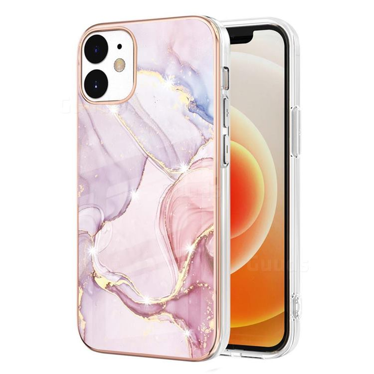 Rose Gold Dancing Electroplated Gold Frame 2.0 Thickness Plating Marble IMD Soft Back Cover for iPhone 12 / 12 Pro (6.1 inch)