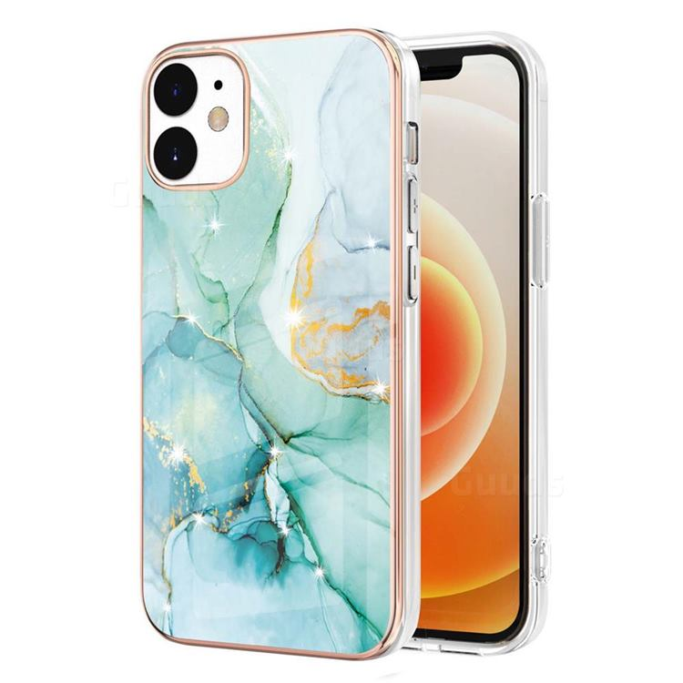 Green Silk Electroplated Gold Frame 2.0 Thickness Plating Marble IMD Soft Back Cover for iPhone 12 / 12 Pro (6.1 inch)