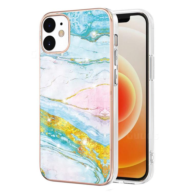 Green Golden Electroplated Gold Frame 2.0 Thickness Plating Marble IMD Soft Back Cover for iPhone 12 / 12 Pro (6.1 inch)