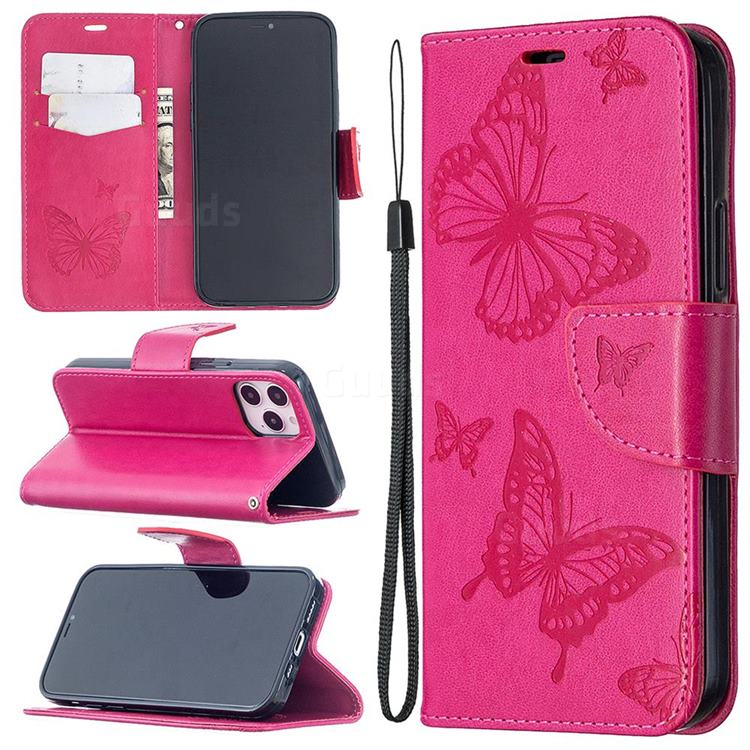 Embossing Double Butterfly Leather Wallet Case for iPhone 12 Pro (6.1 inch) - Red